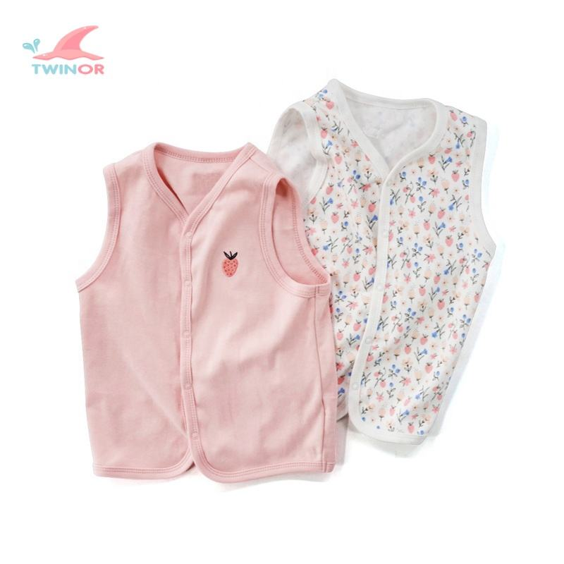 Wholesale custom 100% cotton snap button new born baby printed vest set