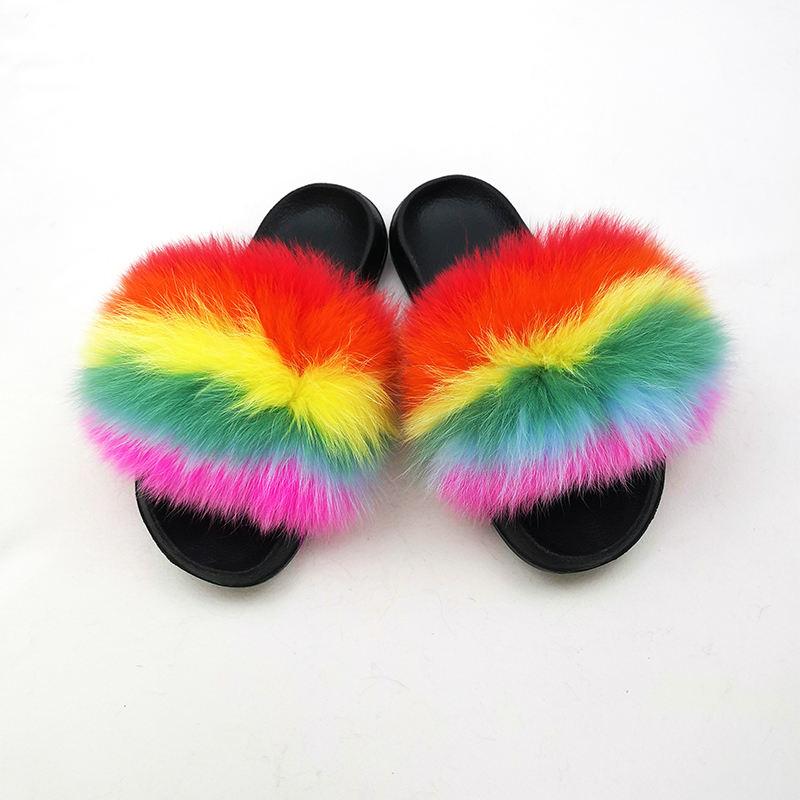 De <span class=keywords><strong>moda</strong></span> de <span class=keywords><strong>Casa</strong></span> zapatillas para las mujeres de piel de zorro zapatillas
