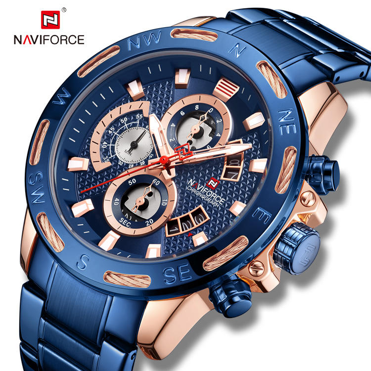 NAVIFORCE 9165 Fashion Luxury Brand Military Quartz Sport Mens Watches for Chronograph 2019 hot sale