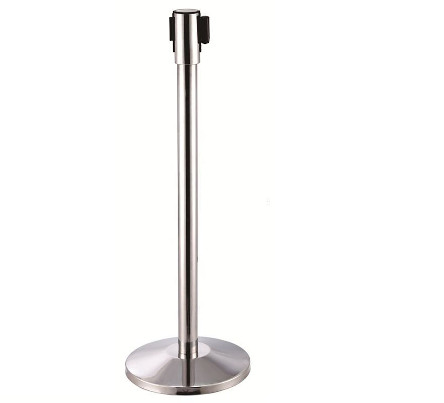 Detachable airport coffee safety belt barrier system tape stanchion posts stand chain for crowd control metal steel barrier