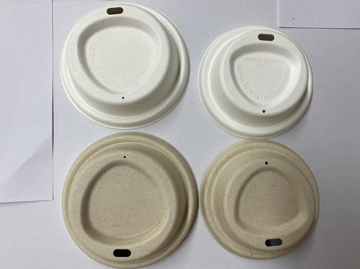 For Cups Bagasse Coffee Lid 80mm 90mm Compostable Molded Pulp Cup Lid Sugarcane Bagasse Paper Coffee Cup Cover