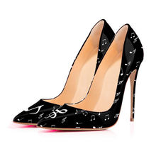 2019 Women's Black White Music Patent Leather Stilettos High Heels Party Pumps