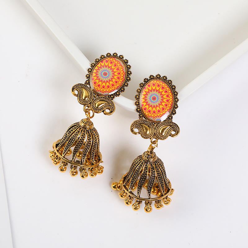 Women fashion jewelry silver garnet Jhumkas earrings drop earrings wholesale jewelry handmade earrings