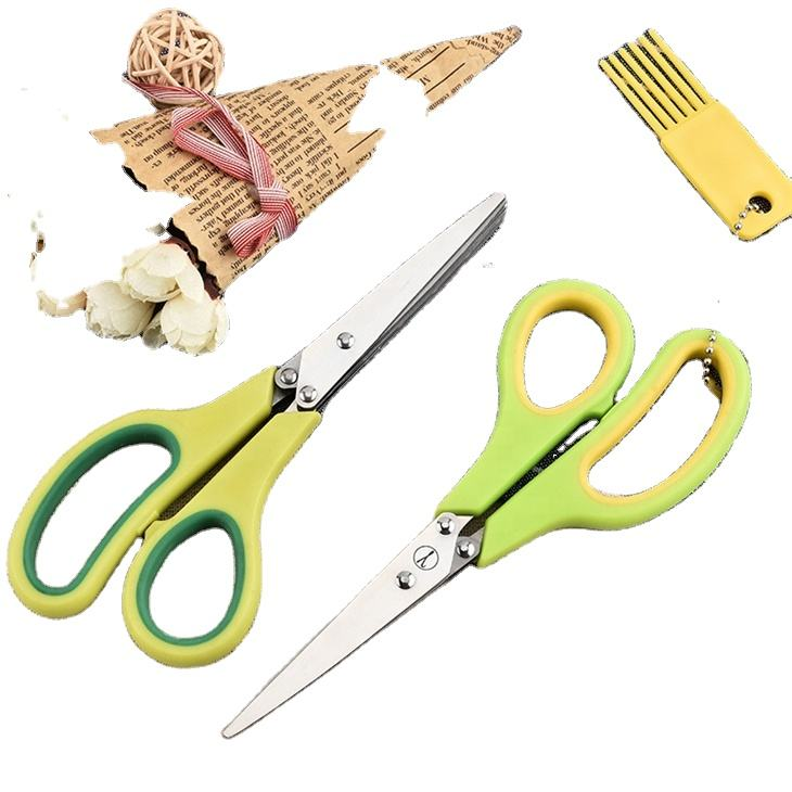 QY-727 Plastic Handle Name Brand Stainless Steel 3 Blades Herb Scissors