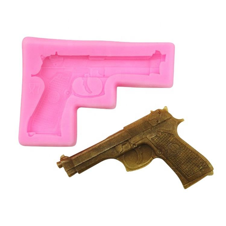 EF040 3D DIY Homemade Cake Decoration Gun Shape Silicone Mold Baking Tools for Cake Making