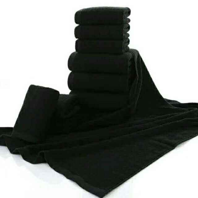 Salon Towel Wholesale 100% Cotton Bleach Proof Black Hair Towel OEKO-TEX STANDARD 100 Adults Hotel Plain Dyed Square QUICK-DRY