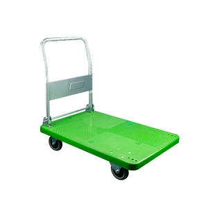 300kg Four Wheels Plastic Hand Truck Cart Foldable Platform Trolley for Warehouse Green Color