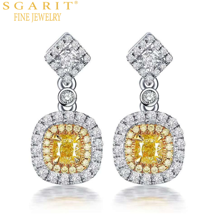 SGARIT high classic luxury engagement wedding jewelry 18k pure gold 0.4ct VS natural yellow diamond stud earrings