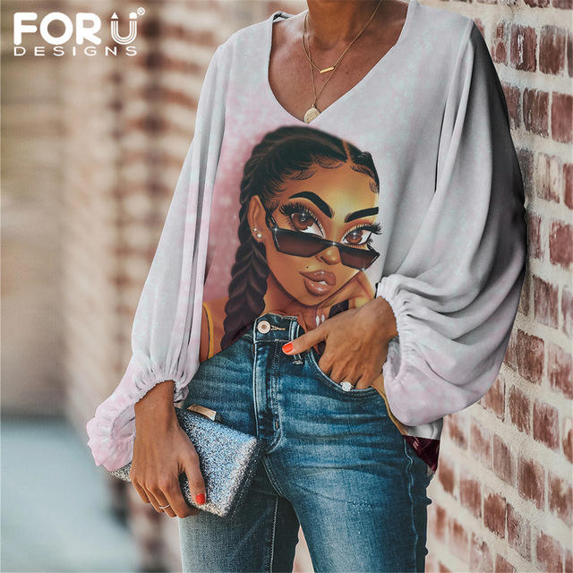 Custom Casual Loose Long Sleeve Shirt Tops V-neck Female Clothing Fashion African Girls Printed Party Korean Style Women Clothes