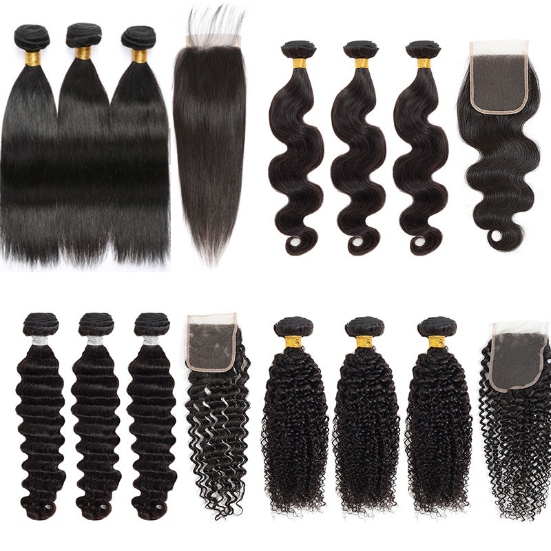 Wholesale Virgin Hair Vendors Brazilian Peruvian Loose Deep Body Straight Wave Human Hair 3 Bundles With Lace Frontal Closures