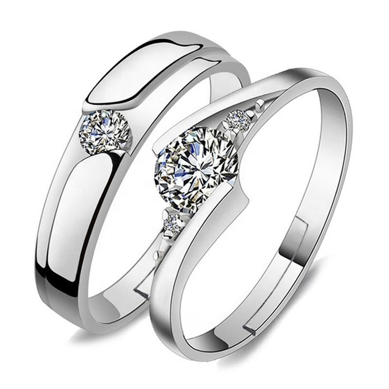 5206 Fashion Crystal CZ Stone Wedding Engagement Rings for Couples 925 Sterling silver Adjustable Ring for women men
