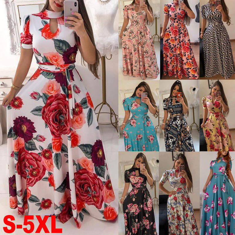 Fashion Ladies Summer Beach Club Party Thin Long Sundress Plus Size Women's Floral Maxi Dress