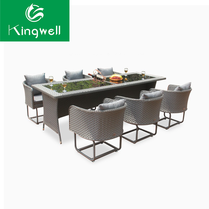 New arrival rattan dinning table set 6 chairs use in restaurant