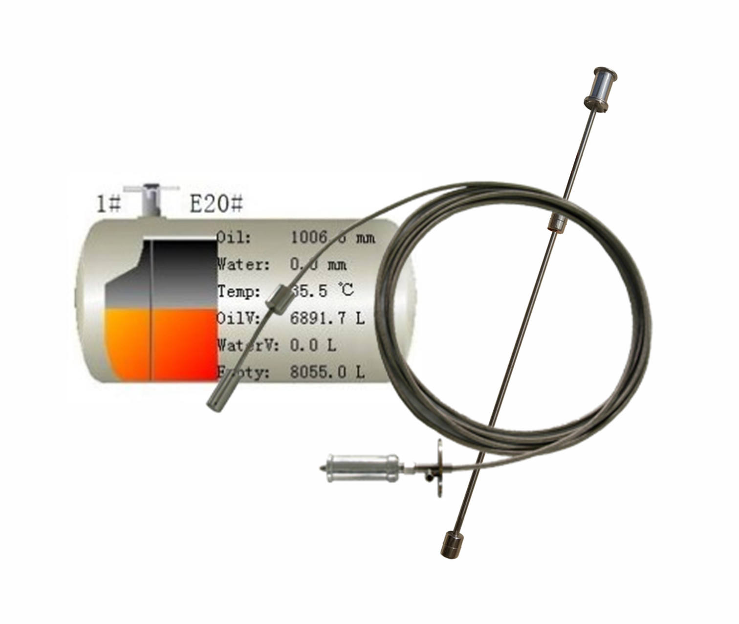 600-20000mm length fuel tank/oil depot Digital flexible magnetostrictive float probe oil/LPG fuel level sensor rs485