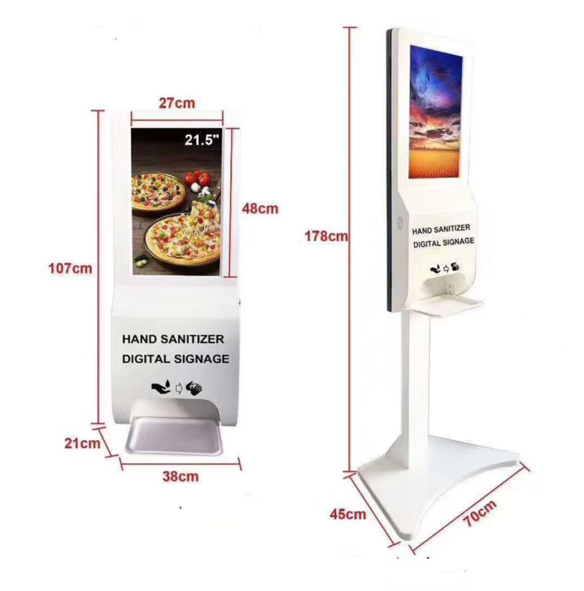 Digital Signage floor stand disinfection automatic hand sanitizer dispenser touch kiosk