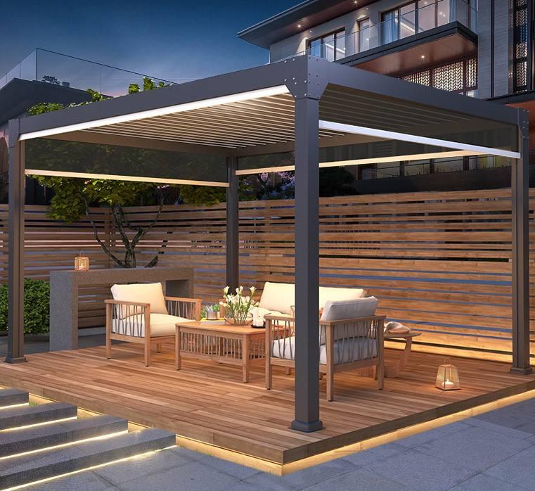 Đảm bảo chất lượng cao thiết kế rèm sang trọng tùy chỉnh thượng Vườn trên mái Gazebo Tấm nhôm có động cơ ngoà