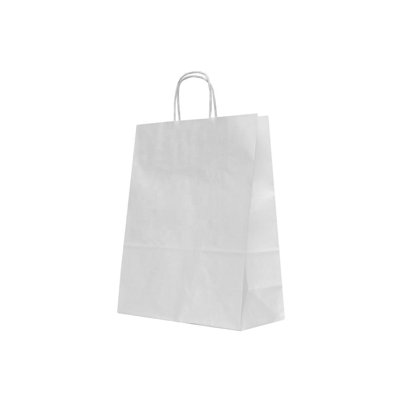 Custom Paper Shopping Bags White Color Packaging Kraft Paper Bags