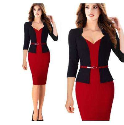 Elegant One-Piece Patchwork Lady Business Office Dress Casual Wear To Work Belted Women Formal Bodycon Pencil Dress