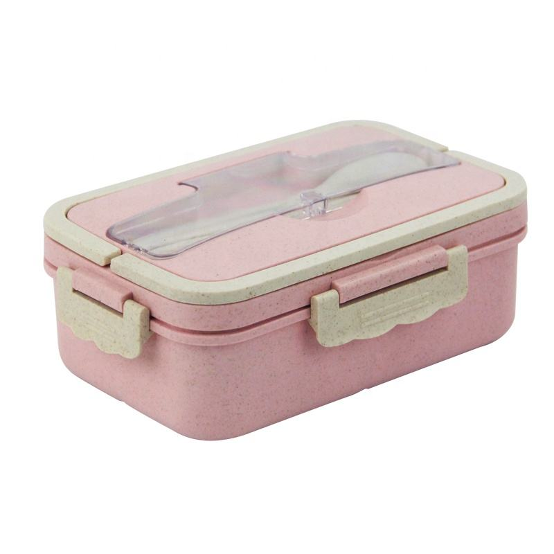 Factory wholesale wheat straw bento lunch box with tableware