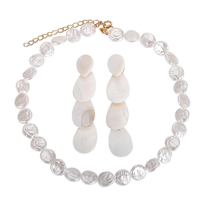 Bohemian Fresh Water Pearl Earrings Real Mother of Pearl Necklace Baroque Pearl Necklace Sets