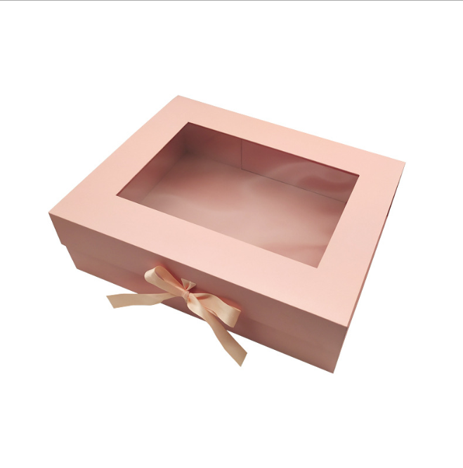 factory direct colorful eco cardboard magnetic pr box case container with window ribbon for eyelash gift wig scarf wholesale