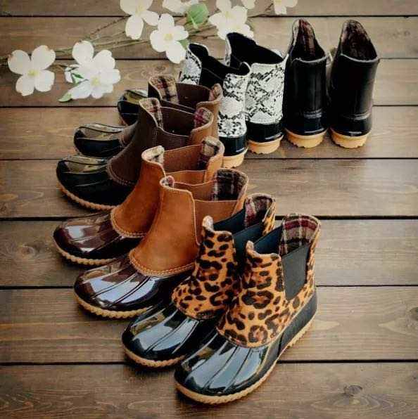 New Arrival Women Leopard Rain Boots Waterproof Hunting Duck Boots
