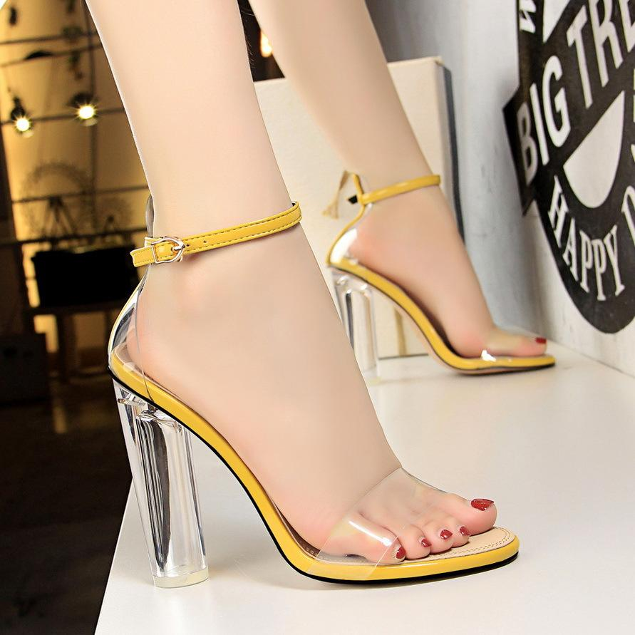 Temperament High-heeled Shoes Crystal Transparent Word Toe Sandals Woman high heels 11 CM square high heels