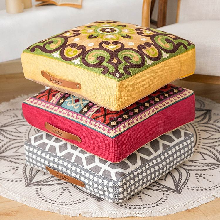 Wholesale india home decoration eco ottoman wool embroidered floor cushion cotton woven square moroccan pouf