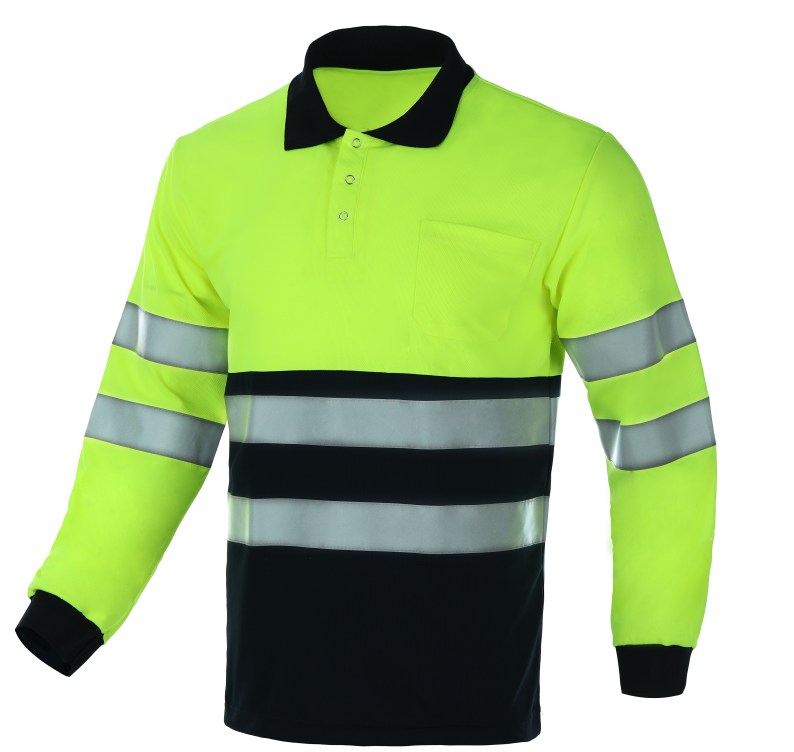 Breathable Reflective safety polo collar snap button fluorescent yellow long sleeves polo t shirts