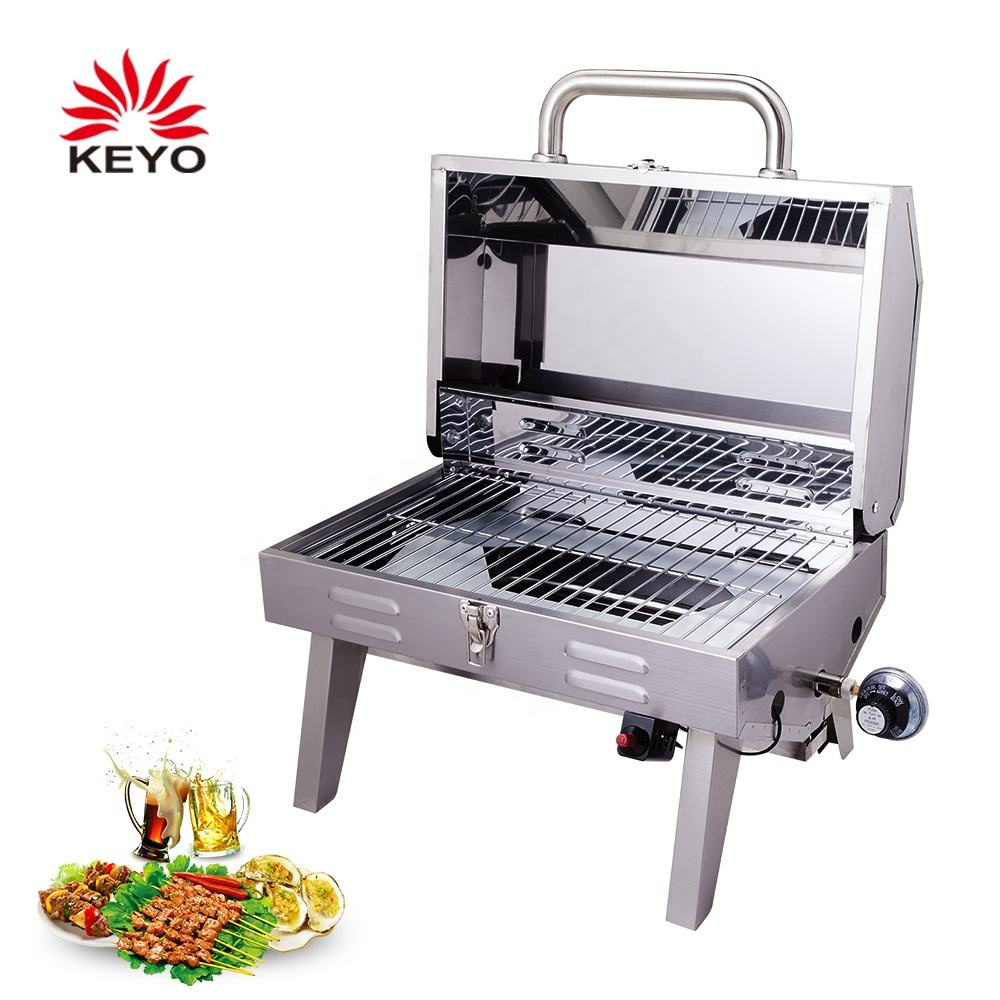10000 BTUs Stainless Steel Tabletop BBQ Portable Gas Grills With Certificate