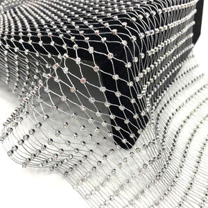 va051 wholesale crystal silver base plastic fishnet trim crystal rhinestone net mesh for clothes