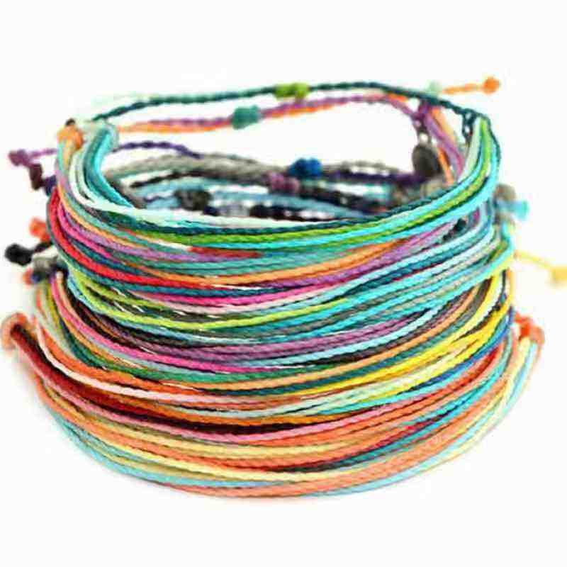 colorful wax cord woven bracelet delicate rope braided bracelet