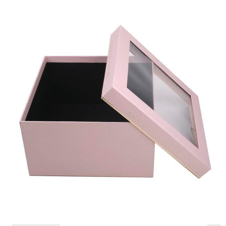 Custom Square Gift Display Box Flower Chocolate With Transparent Clear Plastic Window Cover Lid