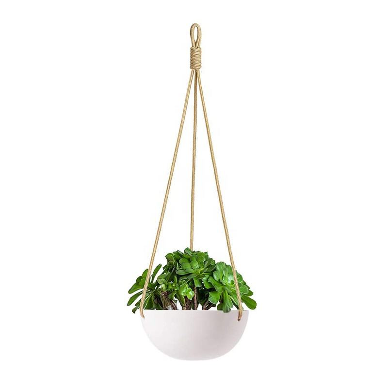 9 Inch White Ceramic Hanging Planter Indoor Outdoor Modern Round Flower Plant Pot with hemp rope