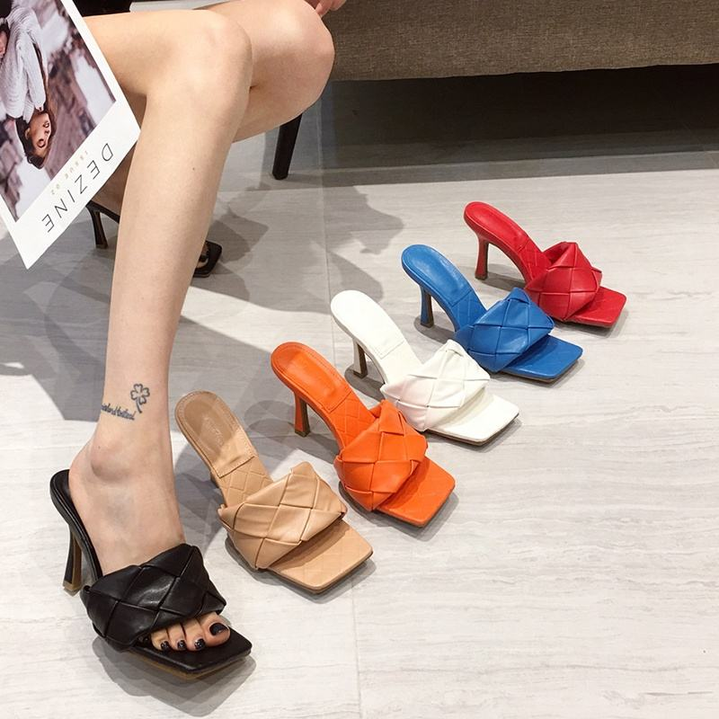 Hot Sales Black and White Peep Toe Ladies Shoes Women Fashion High Heel Stiletto Sandals Slides Slippers Mules Shoes Woman