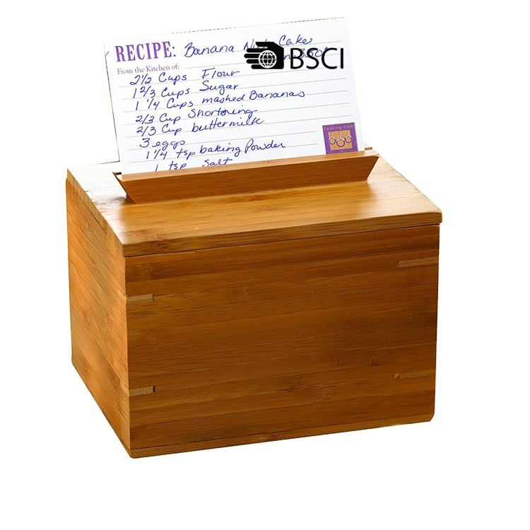 Eco-Friendly popular bamboo recipe box with card and removable lid