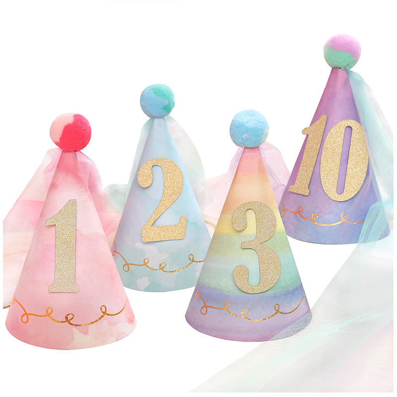 Princess birthday paper hat baby girl shows children one year old creative Party supplies decorations