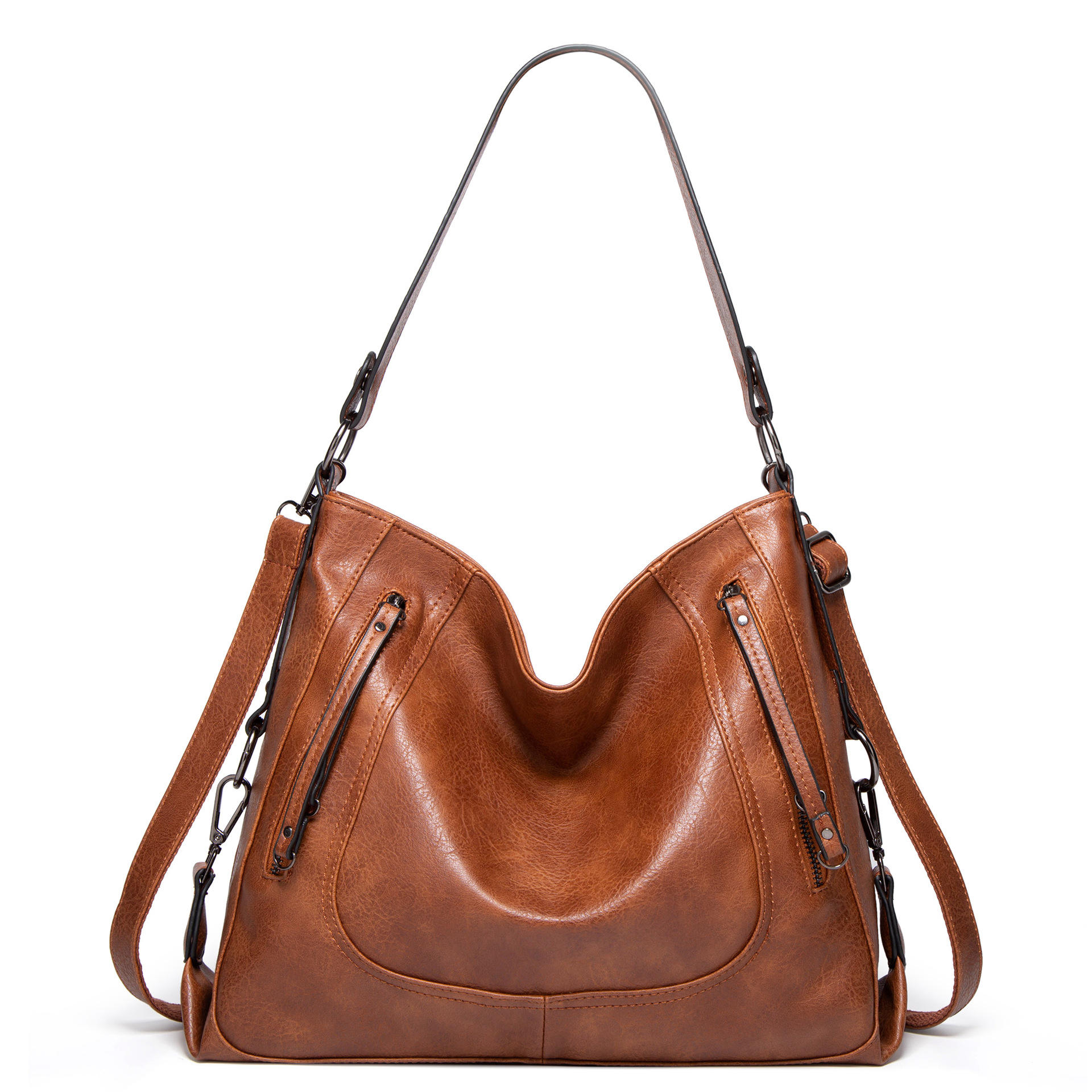 Fashion Lady Elegance Purse Vintage Leather Hobo Bucket Bag Large Capacity Purse with Front Pocket Designers Handbags