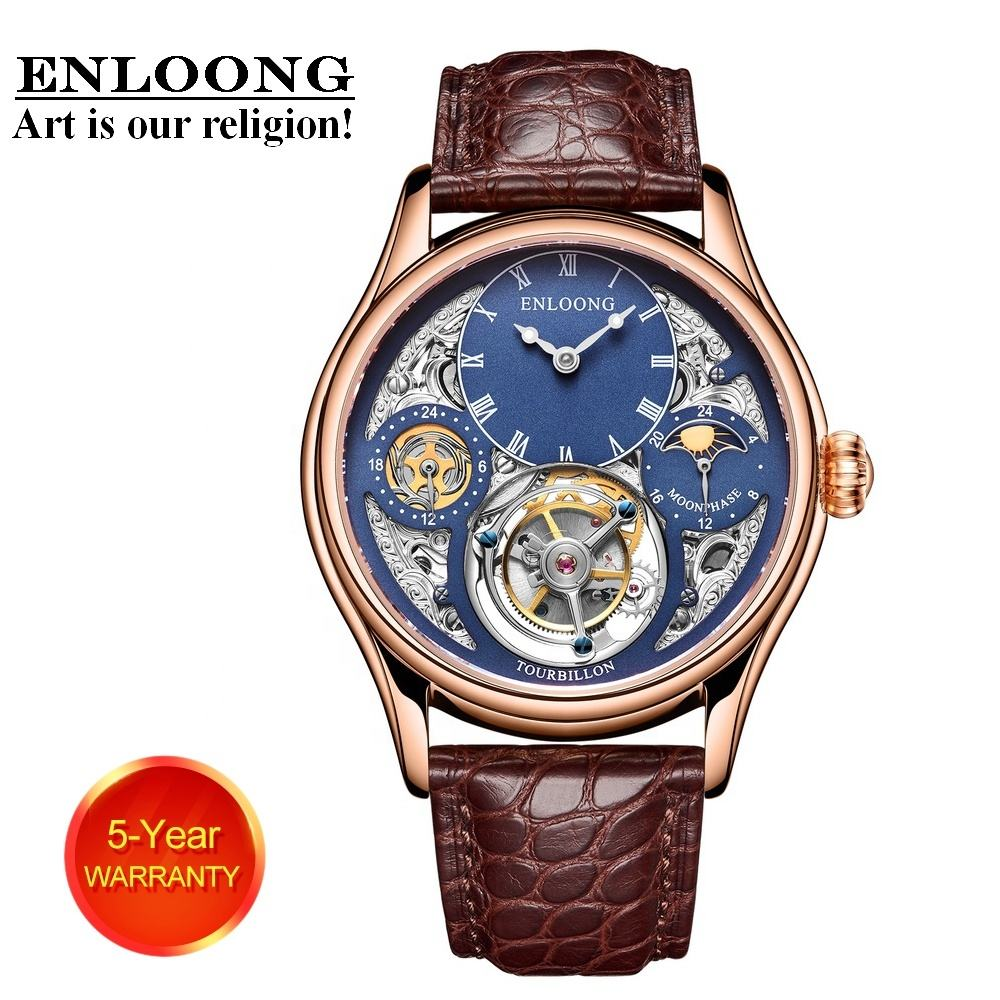 2020 ENLOONG Real Luxury Skeleton Flying Tourbillon Watches with GMT Indicator Mechanical Wrist Watch Men OEM Watch Luxury