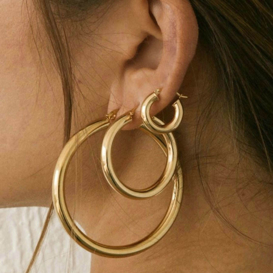 18K Gold Plated Brass Hoop Earrings Small Big Circle Hoops CC Huggie Chunky Statement Earrings Punk Metal Jewelry