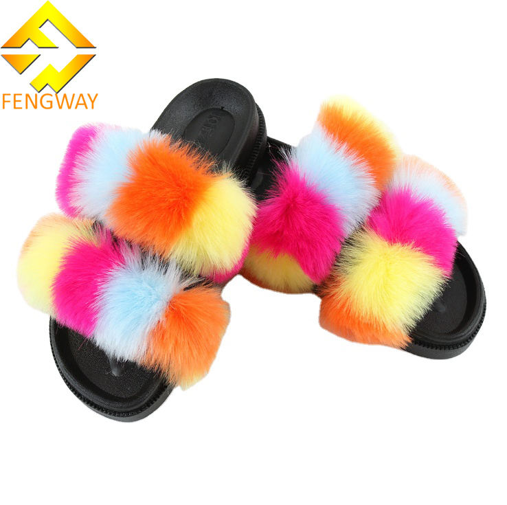 2020 hot Fox Fur Slippers faux fur slide sandals Custom Women Fashion two strap Fur Slides