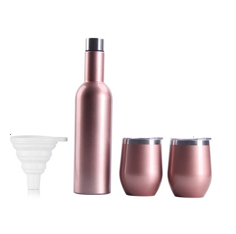 Thermos Stainless Steel Gift Set, 12oz Insulasted Golden Wine Glass Tumbler With Brush And Lid