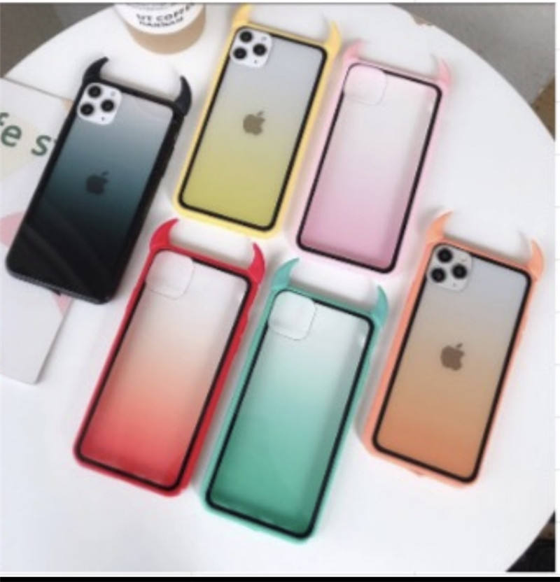 Gradient Rainbow Devil Horn Phone Case for iPhone 11 Pro Max XS Max XR XS X 8 7 6 Plus Soft Acrylic Phone Back Cover
