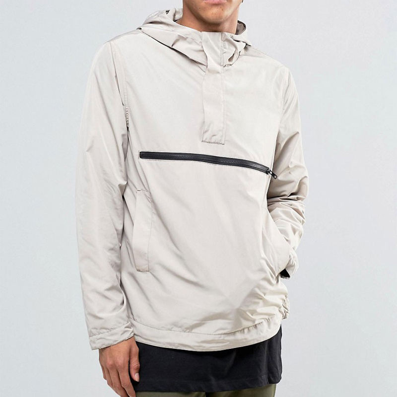OEM Wholesale Fall Men Plain Hoodie Overhead Windbreaker Jackets