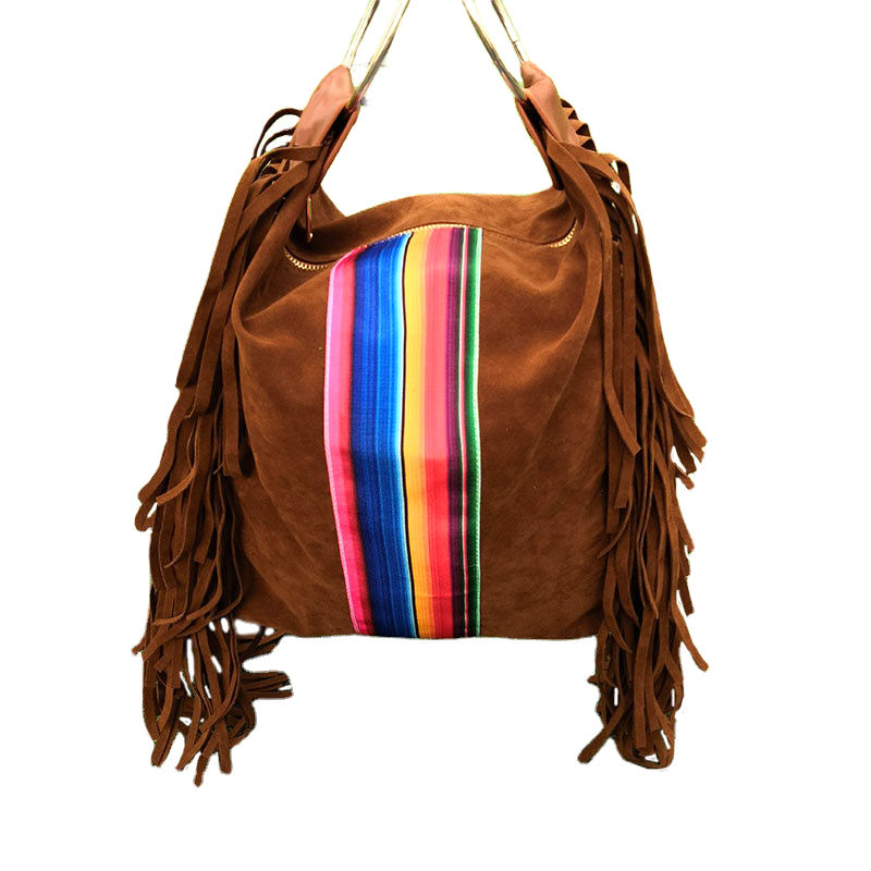 Suede Leather Tassel Purse Wholesale Monogrammed Leather Women Ring Handle Serape Suede Fringe Hobo Bag