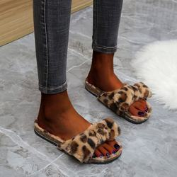 2020 Women Plus Size Leopard Shoes Ladies Fluffy Indoors Sli