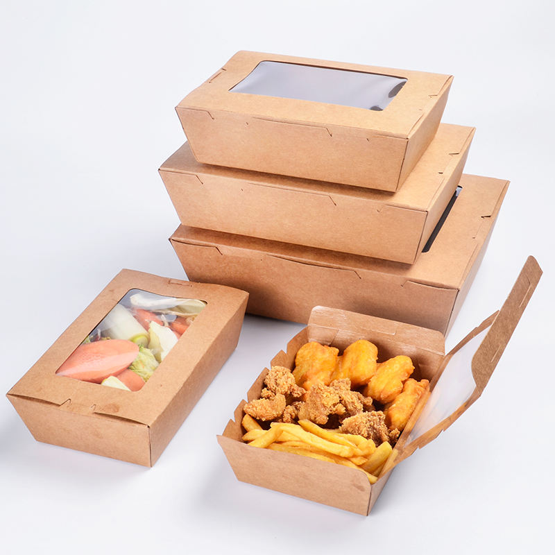 Rettangolo di pollo riciclabile scatole di imballaggio biodegradabile usa e getta fast food marrone kraft carta da asporto lunch box con finestra