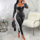 Autumn New Listing Fashion Long Sleeve Velvet Sport One Piece Jumpsuit Women 2019 Sexy