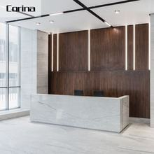 Corina 2020 latest white rectangular artificial stone reception desk modern