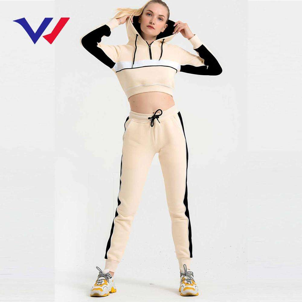 Hot sell comfortable fashion training jogger sweat suit women sports fitted fleece sport gym tracksuit set